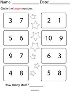 Circle the Larger Number Math Worksheet