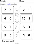 Circle the Smaller Number Math Worksheet