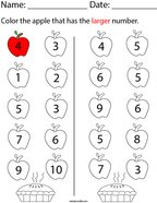 Color the apple that has the larger number Math Worksheet