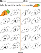Color the carrot that has larger number Math Worksheet