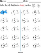 Color the Fish that has the Larger Number Math Worksheet
