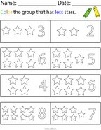 Color the group that has less stars Math Worksheet