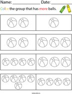 Color the Group that has More Balls Math Worksheet