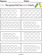 Color the Group that has More Hearts Math Worksheet