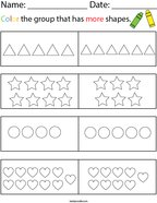 Color the Group that has More Shapes Math Worksheet