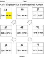 Color the place of the underlined number- 2 digit Math Worksheet