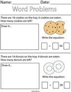 Cookie Subtraction Word Problem Math Worksheet