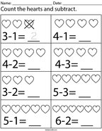 Count and subtract the hearts Math Worksheet