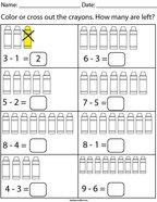 Crayon Subtraction Math Worksheet