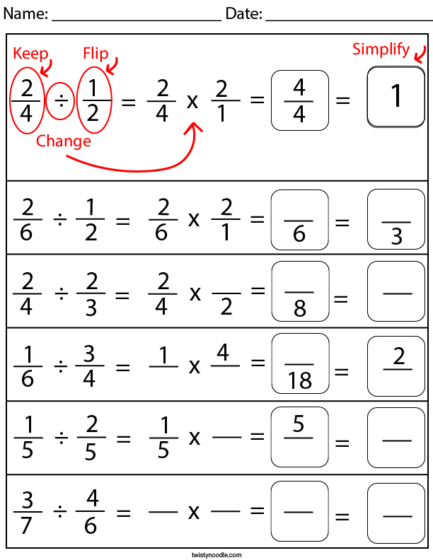 Divide and Simplify the Fractions Math Worksheet