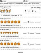 Dividing Basketballs Math Worksheet