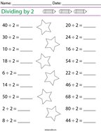 Dividing by 2 Math Worksheet