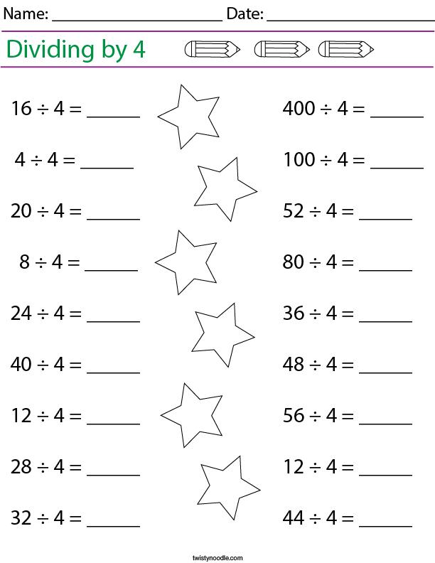 Dividing by 4 Math Worksheet