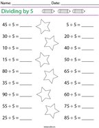 Dividing by 5 Math Worksheet