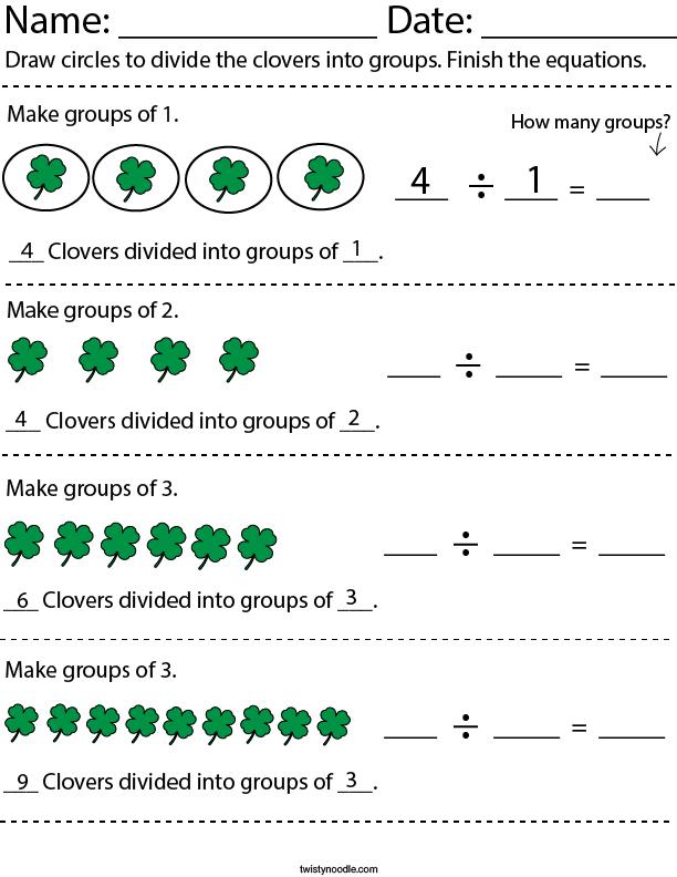 Dividing Clovers Math Worksheet
