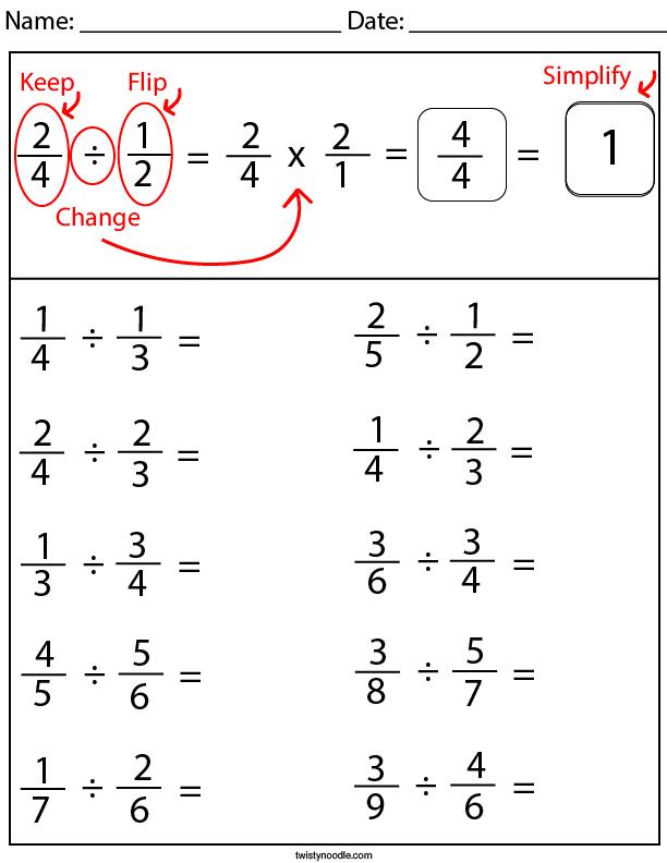 Diving Fractions Math Worksheet