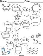 Division- At the Beach Math Worksheet