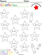 Division- Color by Number Stars Math Worksheet