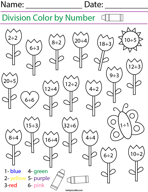 Division- Color by Number Tulips Math Worksheet