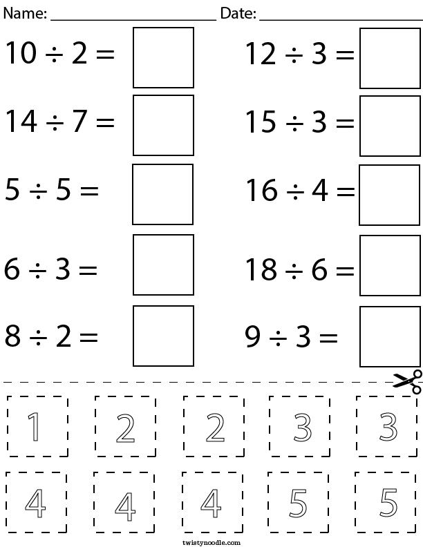 Division Cut and Paste Math Worksheet