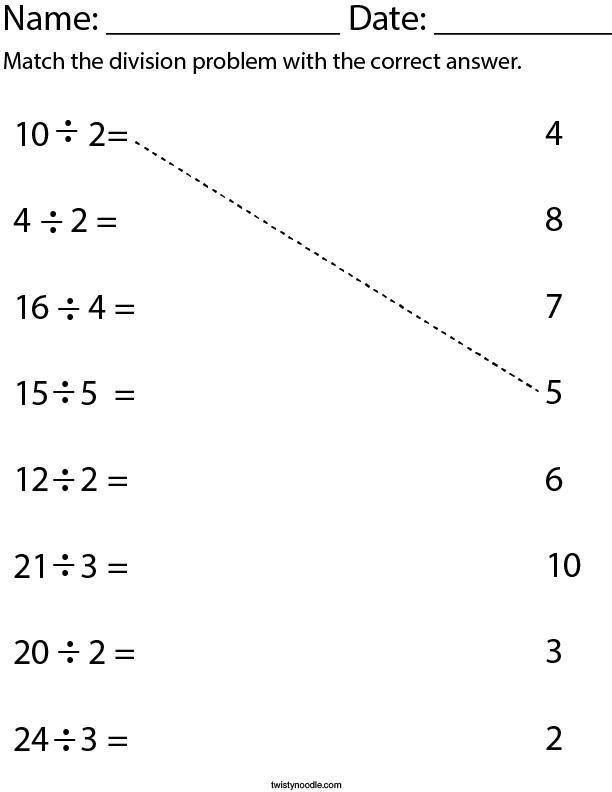 Division Matching Math Worksheet