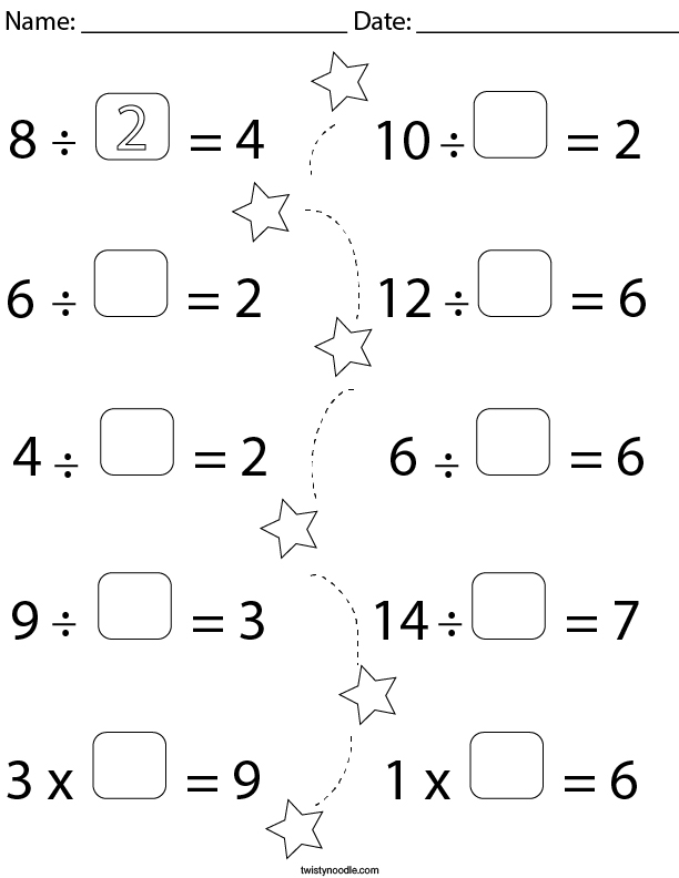 Fill in the Blank Equations- Division Math Worksheet