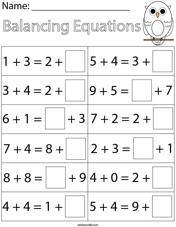 First Grade Balancing Addition Equations Math Worksheet - Twisty Noodle