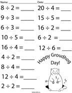 Groundhog Day Division Math Worksheet