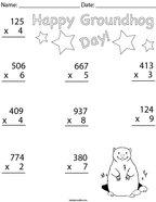 Groundhog Day Multiplication- 3 Digit  Math Worksheet