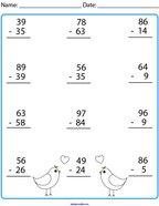 Love Bird Subtraction Math Worksheet