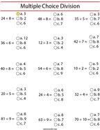 Multiple Choice Division Math Worksheet