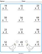 Multiplication- 2 Digit by 1 Digit Math Worksheet