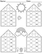 Multiplication and Division Blank Fact Family Houses Math Worksheet