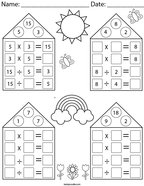 Multiplication and Division Fact Family Houses Math Worksheet