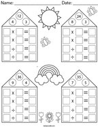 Multiplication and Division Fact Family Practice Math Worksheet