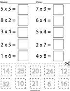 Multiplication Cut and Paste Math Worksheet