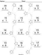 Multiplication Practice- 2 Digit by 1 Digit Math Worksheet