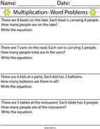 Multiplication Word Problems Math Worksheet