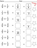 Multiply and Simplify the Fractions Math Worksheet