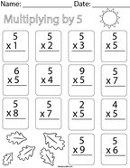 Multiplying by Five Math Worksheet