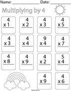 Multiplying by Four Math Worksheet