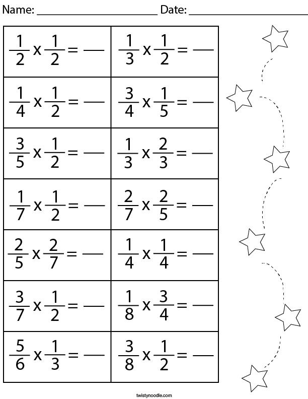 Multiplying Fractions Math Worksheet