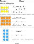 Multiplying with Rows Math Worksheet