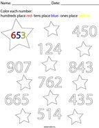 Place Value- Color Each Number Math Worksheet