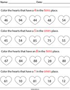 Place Value- Color the Hearts Math Worksheet