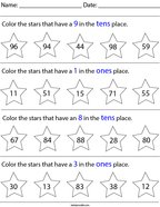 Place Value- Color the Stars Math Worksheet