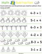 Preschool Math- Buggy Subtraction Math Worksheet