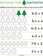 Preschool Math- Christmas Tree Subtraction Math Worksheet