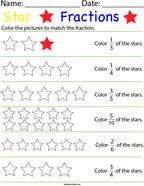 Star Fractions Math Worksheet
