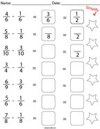 Subtract and Simplify the Like Fractions Math Worksheet